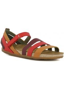 Sandalia plana de tiras mezcla de colores calidos. Con cuña interior.