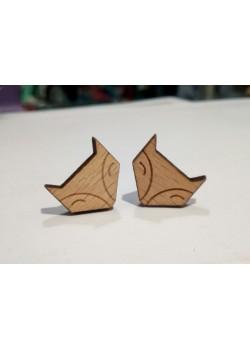 Pendientes de madera zorro