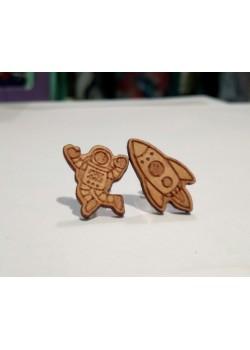Pendientes de madera cohete y astronauta