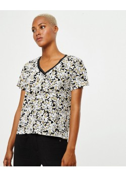 Camiseta cuello pico, m/c FLOR BICOLOR Negro