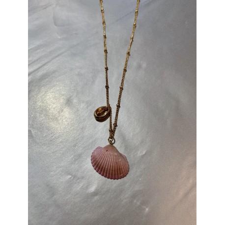 Collar concha rosa con perla