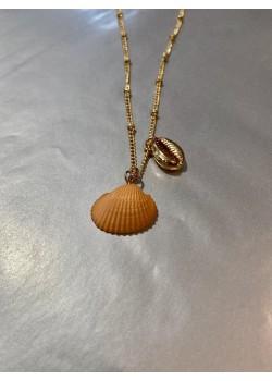 Collar concha naranja con perla